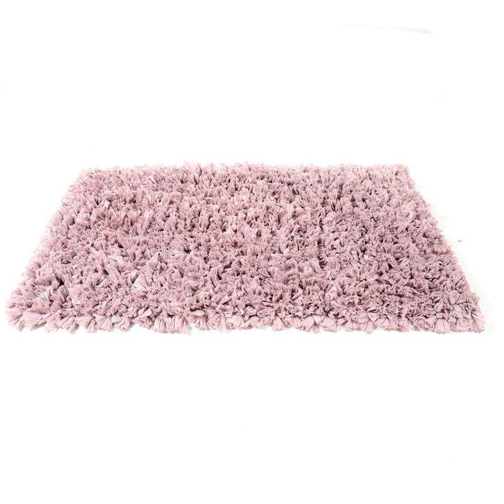 Klasyczne jednolite włochate dywaniki łazienkowe 50x70 koloru różowego