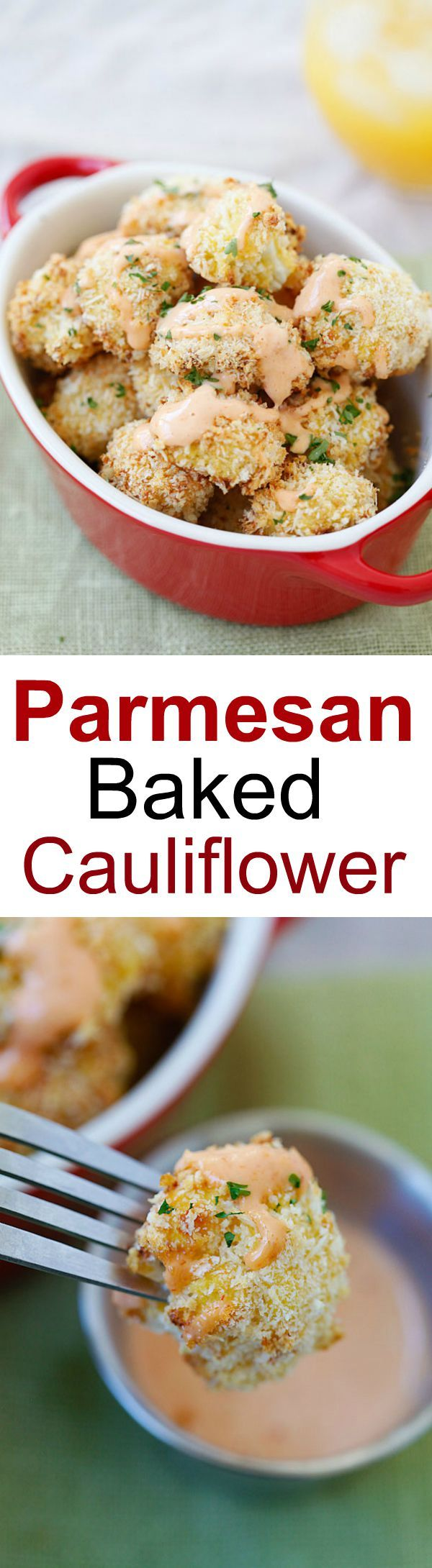 Parmesan Baked Cauliflower – crispy, healthy cauliflower coated with Parmesan cheese and panko bread crumbs. Easy, yummy and so good! | rasamalaysia.com