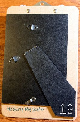 Glue an easel back from a frame to make a standing clipboard - tut on blog