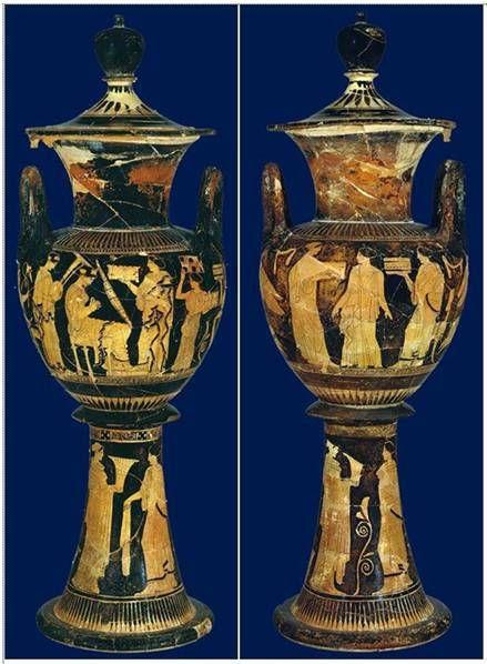 ΕΛΛΗΝΙΚΟΣ ΓΑΜΙΚΟΣ ΛΕΒΗΤΑΣ ύψος 51,1 εκ., 430-420 π.Χ., Μητροπολιτικό Μουσείο Τέχνης, Νέα Υόρκη  Στην κοιλιά του αγγείου η νύφη κάθεται σε ένα δίφρο, ακουμπά τα πόδια της σ' ένα υποπόδιο και με τα δυο της χέρια παίζει μια άρπα, υποδηλώνοντας τα τραγούδια που ακούγονταν κατά τη διάρκεια της προετοιμασίας της νύφης.