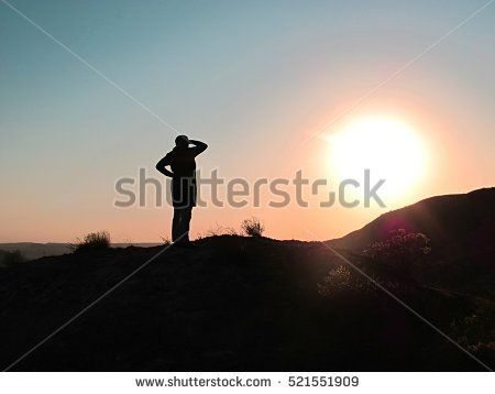 sunset and person