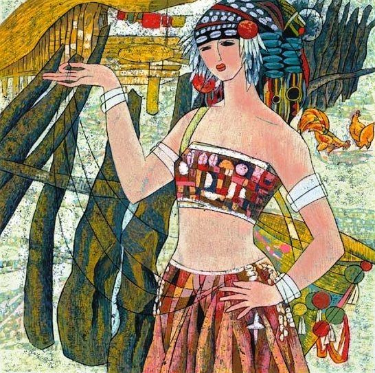 Деревенская девушка, 2005 (546x543, 307Kb)