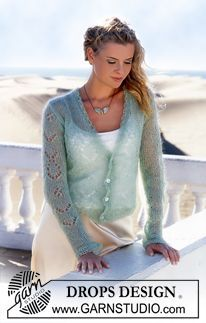 DROPS Jacket with lace pattern