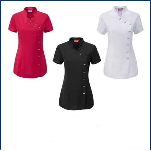 Details about new beauty spa salon beautician tunic nail for Spa uniform tops