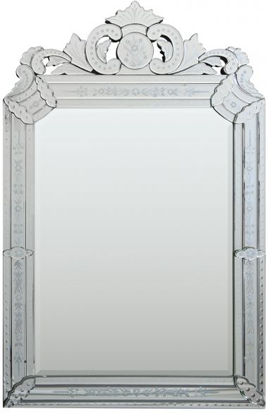 This elegant Venetian mirror features etched-mirror, mirrored ornaments, and a marvelous crown! The large center mirror is beveled as are all the mirrored elements making up the border and crown.