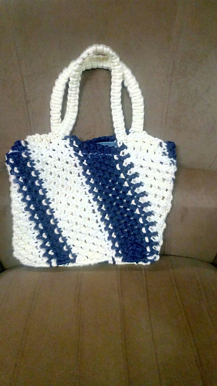Cream and blue macrame
