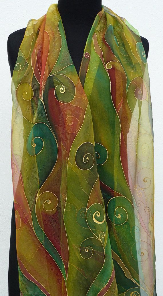 Green Brown silk scarf Handpainted Chiffon pure silk scarf