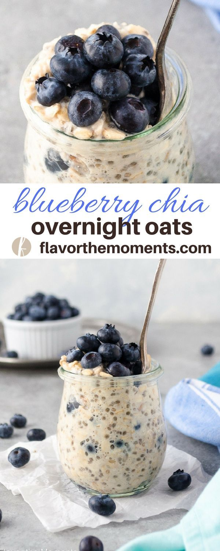 blueberry chia overnight oats recipe - #chia #overnightoats