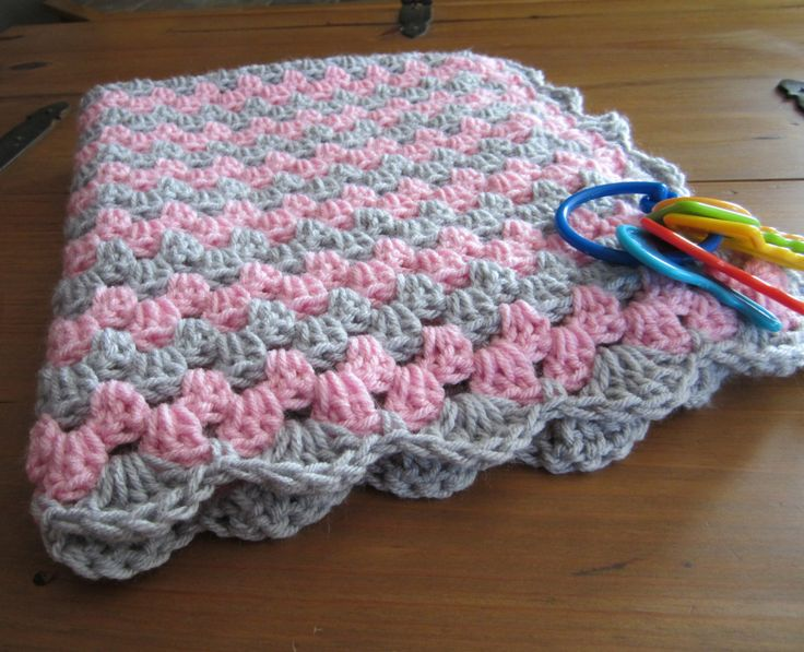 baby girl blanket, crochet granny stripe, crochet blanket, afghan crochet, crocheted blanket, crocheted afghan, pink and grey gray by DonnasPinsandNeedles on Etsy https://www.etsy.com/listing/178009701/baby-girl-blanket-crochet-granny-stripe