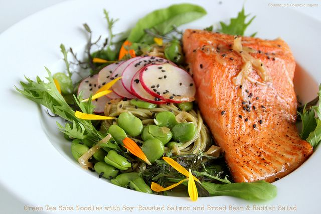 Green Tea Soba Noodles with Soy-Roasted Salmon and Broad Bean & Radish ...