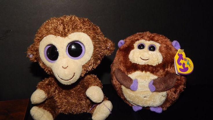TY Beanie Boos Boo Coconut Monkey &Ty Beanie Ballz Bananas Monkey Plush Toy Lot  #Ty