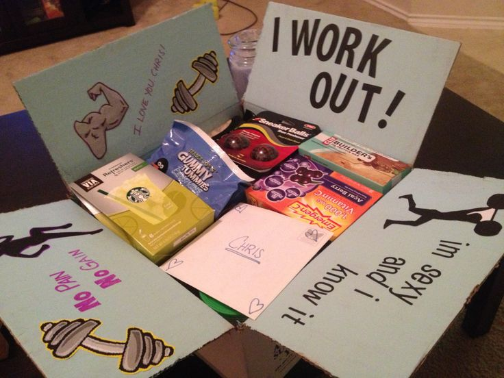 """Workout deployment care package! Included: sneaker deodorant balls, almonds, pistachios, energy drink mix, 2 fitness magazines, protein bars, deodorant, face wash, energy """"gel"""", vitamin c drops, sheets energy strips, eye drops, chap stick, emergen-c, Annie's snack mix, tuna packs, fruit snacks, and more!"""