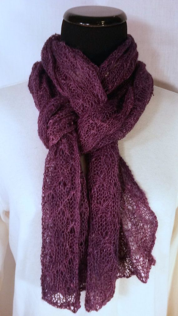 Lace Knit Scarf Suri Alpaca Lace Scarf by BreezyRidgeAlpacas