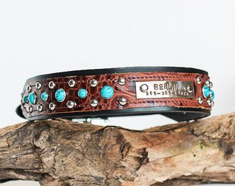CUSTOM Leather Dog Collar // Name Plate and Turquoise Pet Accessories, Dog Toys, Cat Toys, Pet Tricks