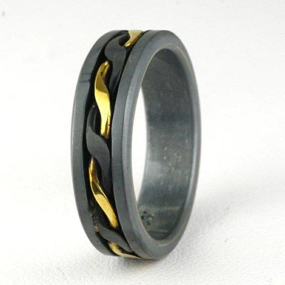Black And Gold Menu0027s Wedding Band