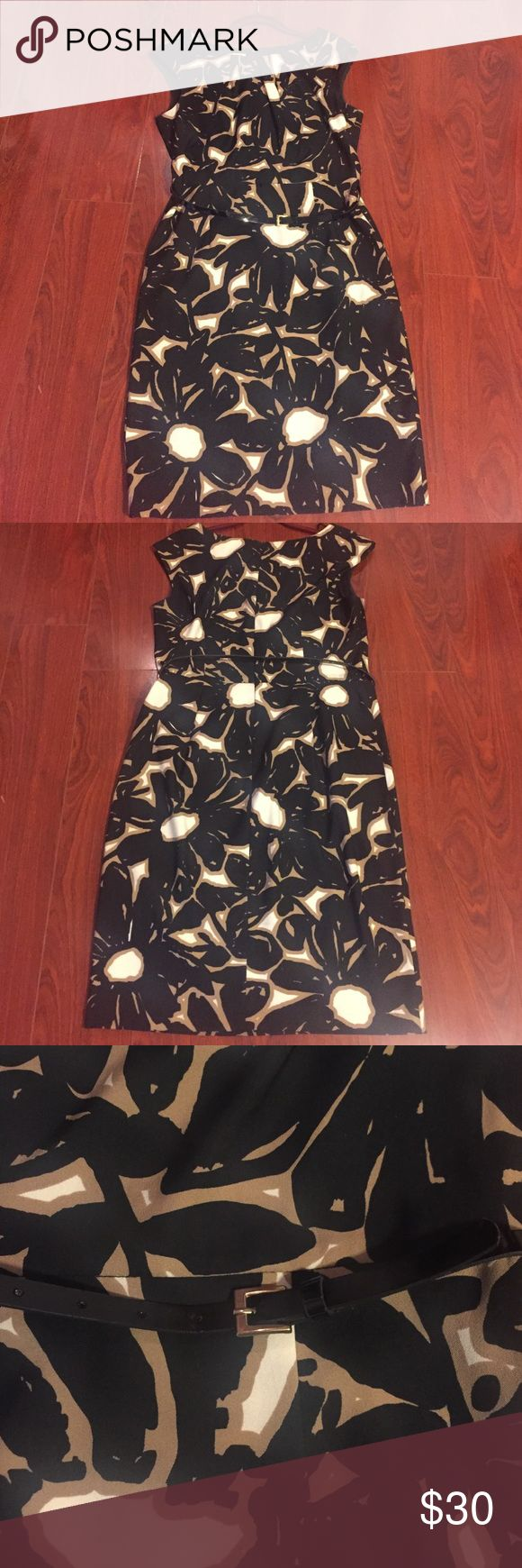 London Times Midi dress London Times Midi dress black beige and coffee color. Size 12 with belt. London Times Dresses Midi