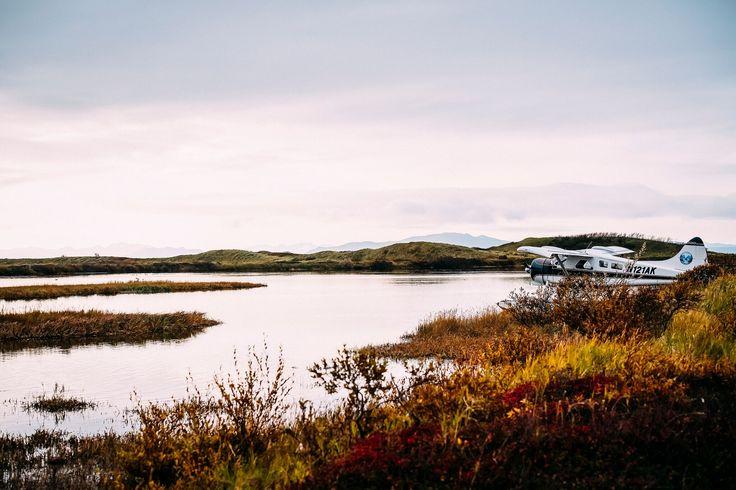 Seaplane at sunset, Alaska. Photo by Kirstin Scholtz