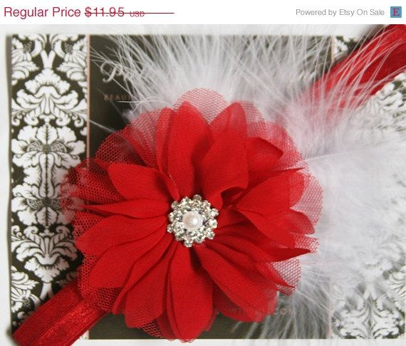 SALE Baby Christmas Headband  Baby Red And by PrettyBabyBowtique
