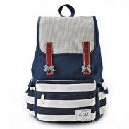 Fresh Bow Stripes Mixed Colors Hasp Trapezoid School Bag Travel Backpack