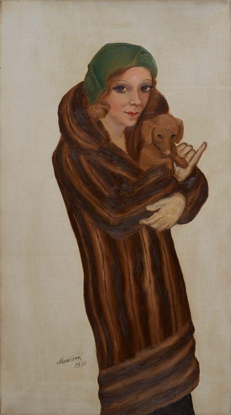 Painting by Milada Marešová (1901-1987), 1930, Dáma s psíkem II (Lady with dog II).
