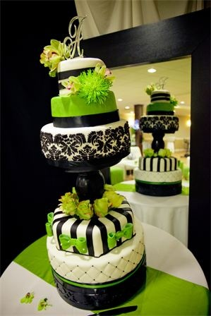 5 tier tall wedding cake (damask and lime green) by Rose Marcellino