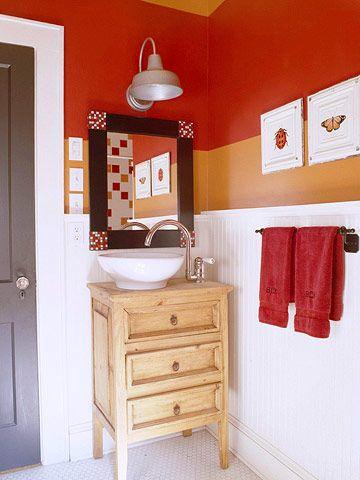 Cool bathroom colorsGood Ideas, Orange Bathroom, Bathroom Colors, Small Bathrooms, Red Bathroom, Bathroom Designs, Bathroom Sinks, Bath Ideas, Bathroom Ideas Small Colors