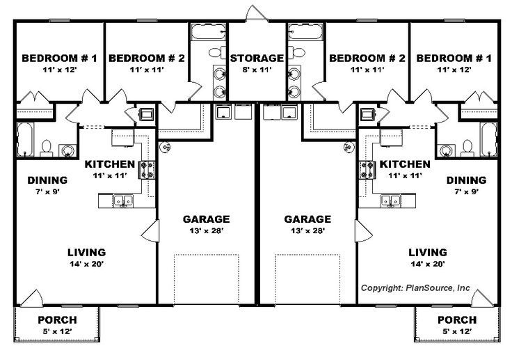 Best 25 duplex plans ideas on pinterest duplex house Duplex floor plans with garage