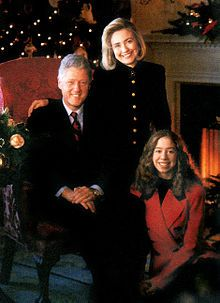 Bill Clinton with his wife First Lady Hillary, and their daughter  Chelsea
