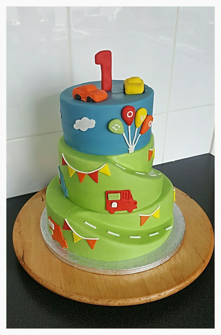 1st Birthday Cake with Cars