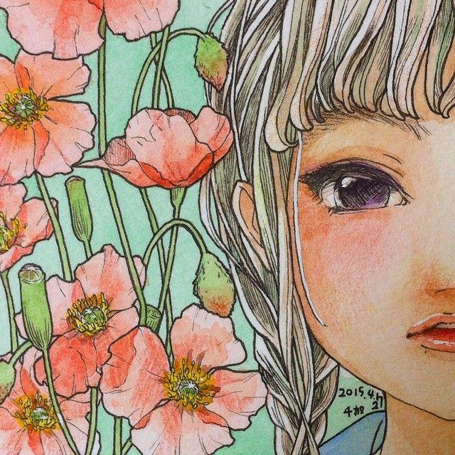 余白を愛せるようになりたい Art Artist Illust Illustration Drawing Girl Flower Watercolors Colorpencils イラスト 水彩 透明水彩 色鉛筆 イラスト 色鉛筆 イラスト イラストアート