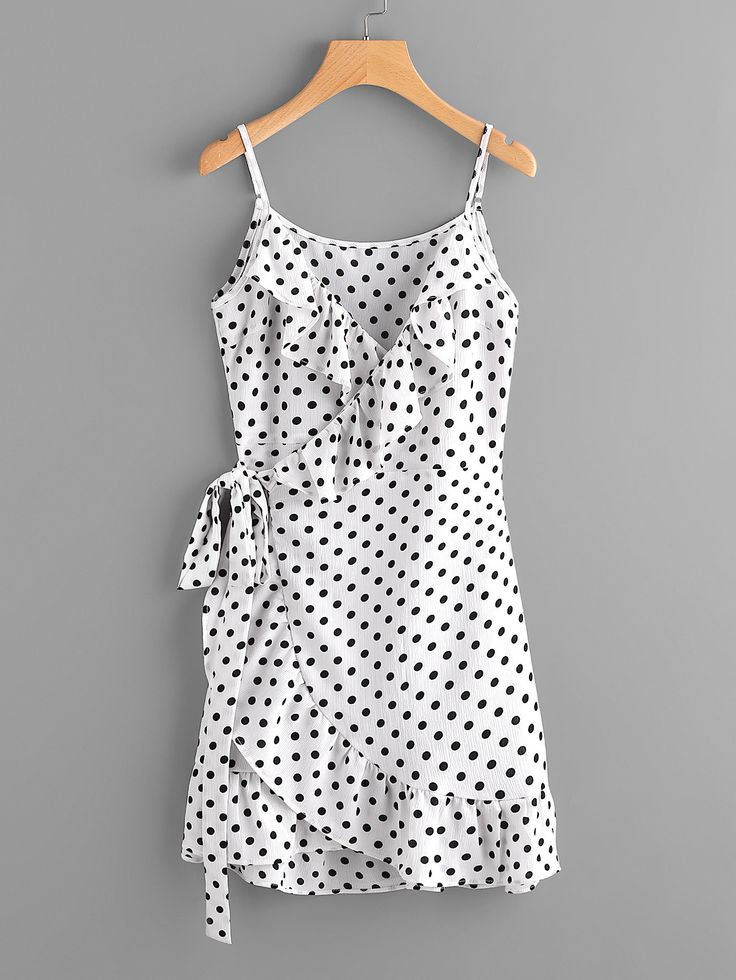 Shop Polka Dot Wrap Self Tie Waist Frill Cami Dress online. SheIn offers Polka Dot Wrap Self Tie Waist Frill Cami Dress & more to fit your fashionable needs.