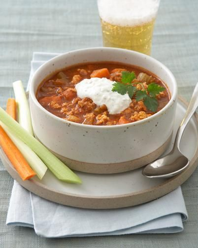 easy tips for health-ing up typical comfort food dishes (and recipes for buffalo chicken chili and a better-for-you banana split).