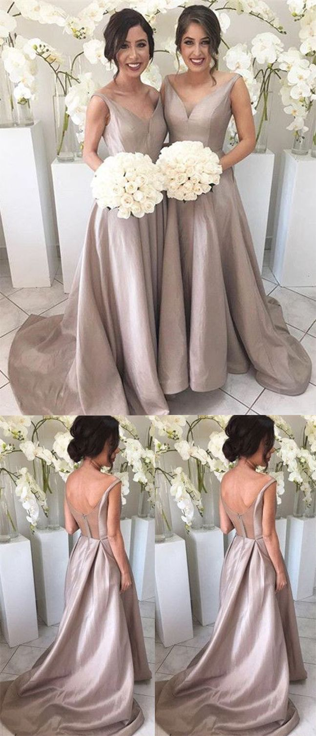 Silver Bridesmaid Dress, Long Bridesmaids Dresses, A Line Taffeta Bridesmaid Dress, Best Party Dresses, Elegant Bridesmaid Dress, V neck Bridesmaid Gown, Bridesmaid Dress