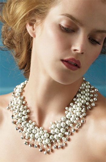 Badgley Mischka Glass Pearl & Crystal Statement Necklace