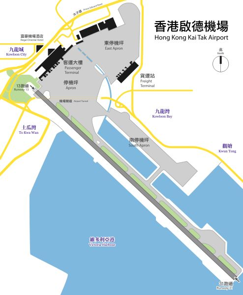 Plan view of Hong Kong Kai Tak Airport with Traditional Chinese text.