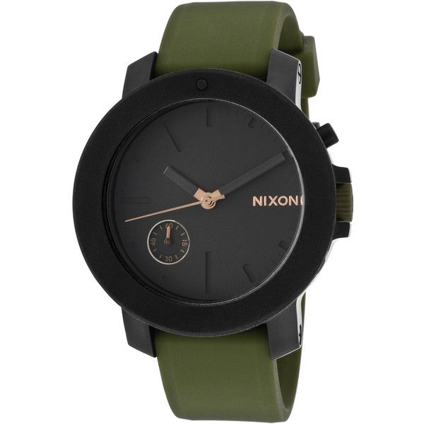 Nixon Nixon Women's Women's Raider IP Stainless Steel & Black Dial... (£160) ❤ liked on Polyvore featuring jewelry, watches, green, stainless steel jewellery, nixon wrist watch, water resistant watches, black dial watches and silicone strap watches
