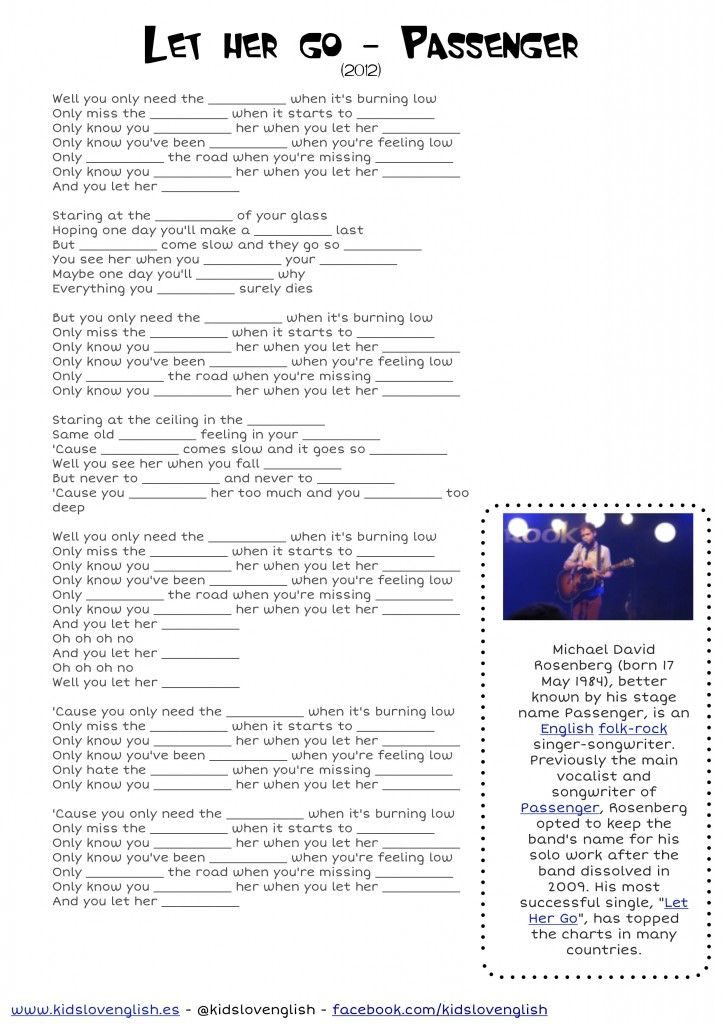 Passenger ... let her go listening through songs - Kids Love English #worksheet #exe-learning