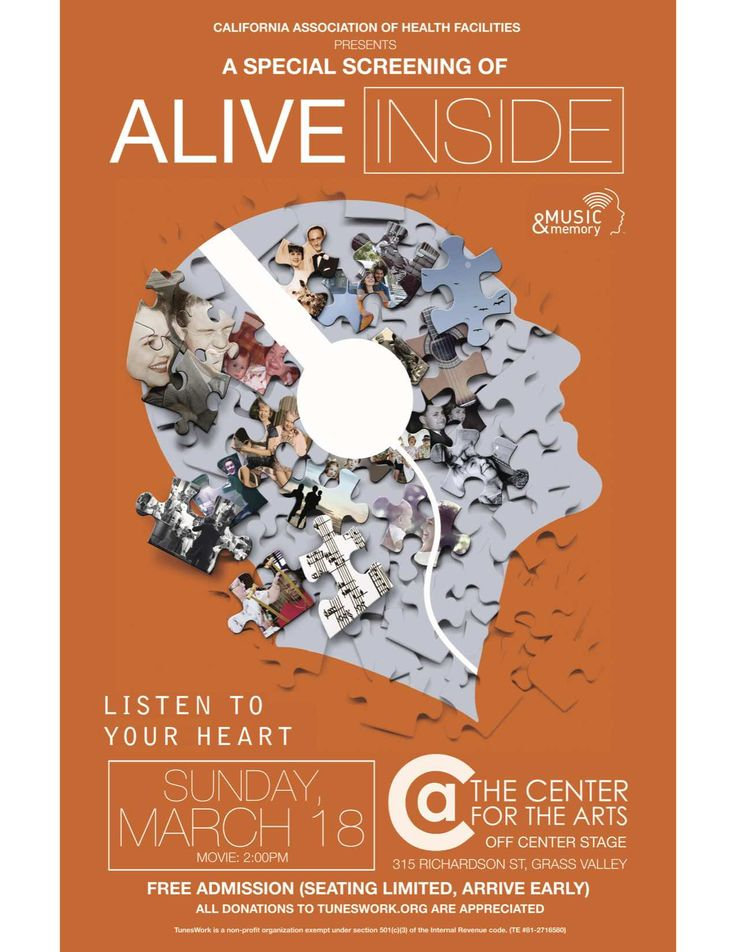 Alive Inside, a special screening of the documentary by Michael Rossato-Bennett.  Off Center Stage, Grass Valley, Sunday, March 18th, 2pm, free