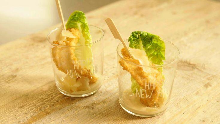 Caesar salade in een glaasje