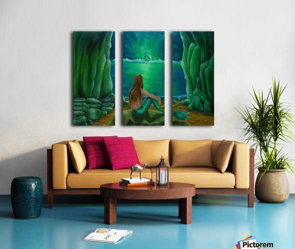 Triptych, 3 split,  stretched, canvas, multi panel, prints, for sale, mermaid, painting, coastal, fantasy, scene, mystical, beach, cave, aquatic, life, creature, seascape, sitting, pose, on rocks, mythical, mythological, magical, atmospheric, romantic, nostalgic, moonlight, night, theme, fish, water, merpeople, fantasy, green, beautiful, awesome, cool, contemporary, realism, imaginary, figurative,fine,oil,wall,art,images,home,office,decor,artwork,items,ideas,pictorem