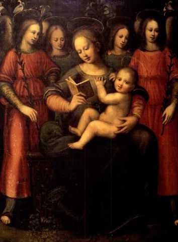 Suor Plautilla Nelli (Florence 1524-1588) Madonna with child and four angels Oil on Board 42.1 x 31.9 in. / 107 x 81 cm. Private collection from IDLE SPECULATIONS: Suor Plautilla Nelli
