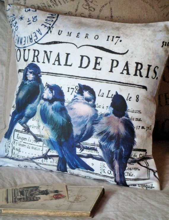 Pillow Cover Bluebird French Paris Blue Cotton and by JolieMarche