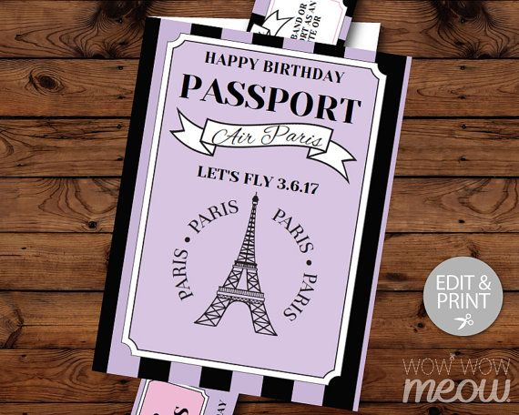 9 best Prom - Passport to Paris images on Pinterest Passport - plane ticket invitation template