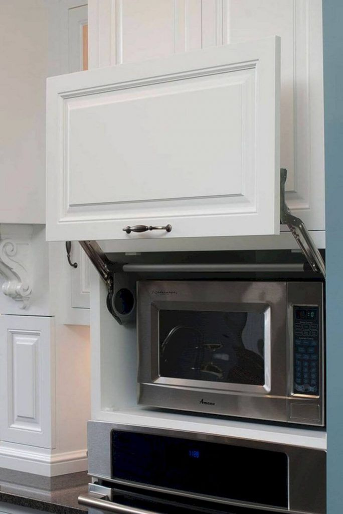 40 Smart Space Saving Ideas To Help You Organize Your Home Attractively Built In Microwave Cabinet Kitchen Design Pictures Kitchen Cabinets Decor