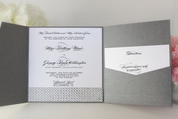 Bling Wedding Invitation Gray and Silver Wedding by OneLovePaperie, $1.90