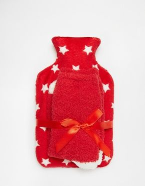 ASOS Christmas Star Hot Water Bottle And Cosy Socks Set