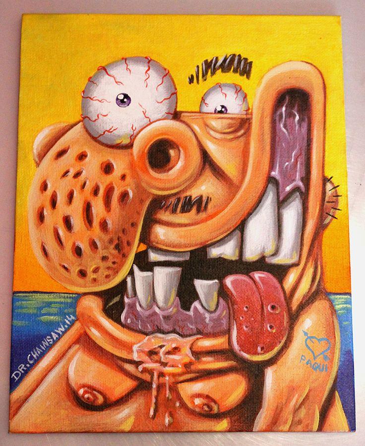 """""""Gordo en la playa"""" Acrylics on canvas. SOLD."""