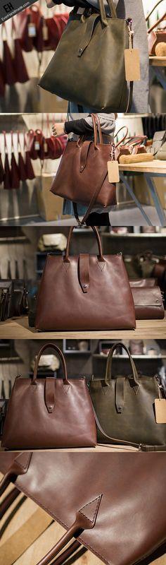 Handmade Leather big handbag dark green brown for women leather shoulder bag