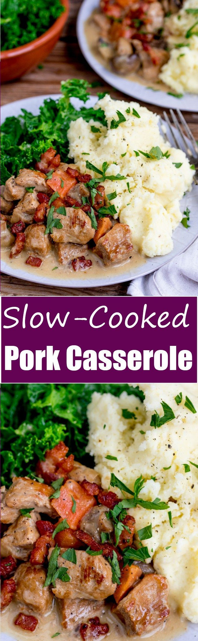 Creamy Slow Cooked Pork Casserole - perfect comfort food! A great make-ahead meal when you're cooking for a crowd, gluten free too!