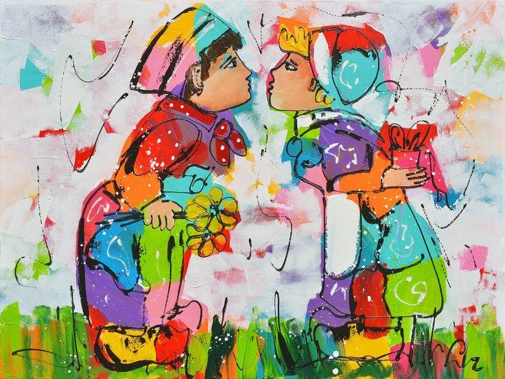 Schilderij Acrylverf op doek, titel: 'Kusje erop' kunstwerk vervaardigd door: Liz